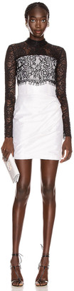 Rasario Lace Corset Mini Dress in Black & White | FWRD