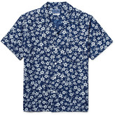 Blue Blue Japan Camp-Collar Indigo-Dyed Floral-Print Woven Shirt