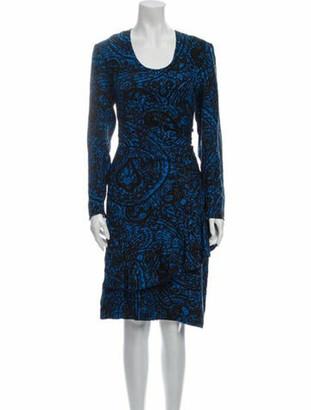 Balmain Printed Midi Length Dress Blue