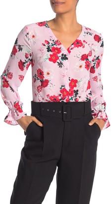 T Tahari Feminine Button Front Long Sleeve Blouse