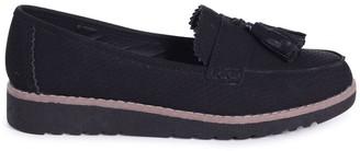 Linzi VICKY - Black Snake Classic Slip On Loafer With Tassel Detail