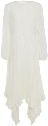 Zimmermann Pleated Fil Coupe Georgette And Corded Lace Midi Dress