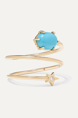Andrea Fohrman Mini Cosmo 14-karat Gold, Turquoise And Diamond Ring - 7