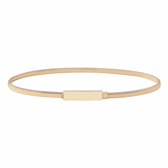 BABEYOND Women's Metal Leaves Stretch Dress Belt Skinny Belt Elastic Waist Strap Stretchy Belts for Dresses Decorative Waistband (Style 1-Gold-M Medium)