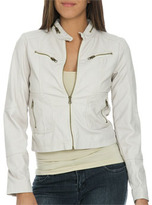 Wet Seal WetSeal Distressed Faux Leather Jacket Sand