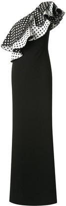 Tadashi Shoji One Shoulder Ruffle Jacquard Dots Gown