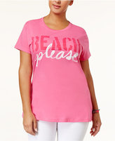 Hybrid Trendy Plus Size Cotton Beach Please Graphic T-Shirt