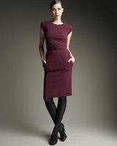 Seam-Detail Sheath Dress