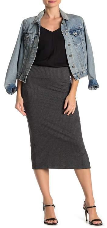 Velvet Torch Ribbed Knit Side Slit Midi Skirt