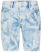 Topman Bleach Wash Blue Slim Denim Shorts
