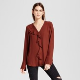 Mossimo Women's Front Ruffle Long Sleeve Top