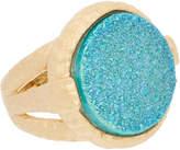 Rivka Friedman 18K Gold Clad Aqua Blue Druzy Quartz Ring