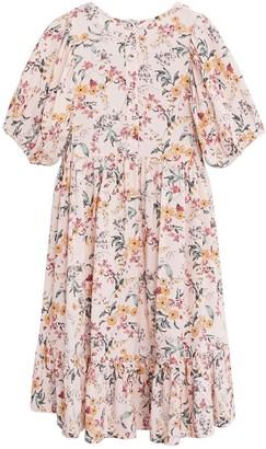 MANGO Girls Woven Floral Smock Dress - Pink