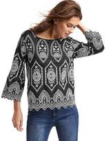 Gap Intricate eyelet three-quarter sleeve top