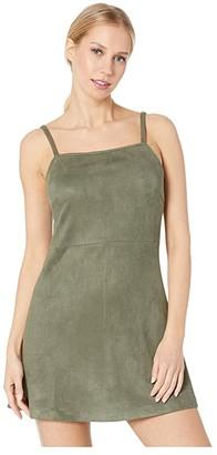 BB Dakota Fair Square Faux Suede Dress (Bettle Green) Women's Dress