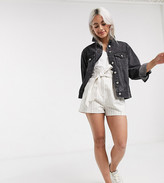 Asos DESIGN Petite linen shorts with paperbag waist and belt in stripe