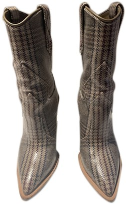 Fendi Cowboy Beige Cloth Boots