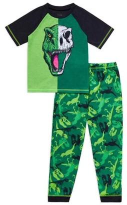 Saint Eve Boys Dinosaur Short Sleeve Long Pant, 2-Piece Pajama Set Sizes 4-16
