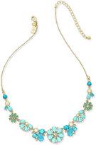 Kate Spade Gold-Tone Petite Blue Flower Collar Necklace