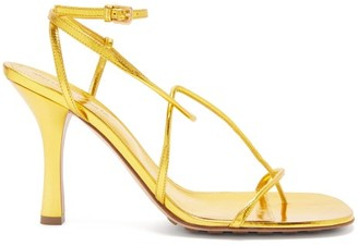 Bottega Veneta Line Wraparound Metallic-leather Sandals - Gold