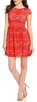 B. Darlin Cap-Sleeve Tab Waist Scalloped-Hem Lace Skater Dress