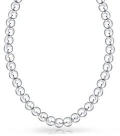 Bling Jewelry 6MM High Ball Round Bead Strand Sterling Silver Necklace 16IN or 18IN