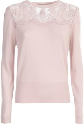 Blumarine Laced Sweater L/s Crew Neck