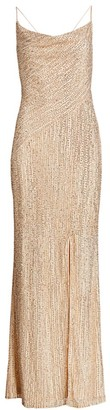 Parker Black Shayna Beaded Slit Gown