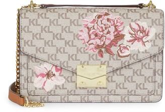Karl Lagerfeld Paris Floral & Logo Leather Crossbody Bag