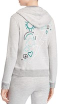 Sundry Doodles Embroidered Zip Front Hoodie Sweatshirt