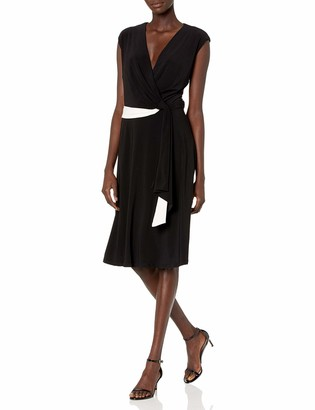 Taylor Dresses Women's Cap Sleeve Side Tie Colorblock Dress