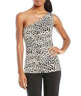 Calvin Klein Leopard Print Matte Jersey One-Shoulder Top