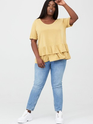 V By Very Curve Ruffle Hem Rib Tee - Multi
