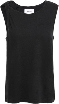 Current/Elliott The Tied Up Twisted Linen And Cotton-blend Jersey Tank