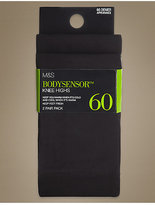M&S Collection 2 Pair Pack 60 Denier Body SensorTM Opaque Knee Highs with Silver Technology