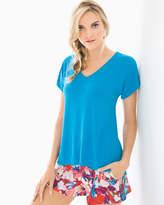Soma Intimates Short Sleeve Dolman Pajama Tee Blue Sea