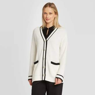 Who What Wear Women's Long Sleeve Button-Front Varsity Cardigan - Who What WearTM White