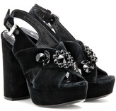 McQ by Alexander McQueen Velvet embellished platform sandals