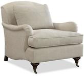 One Kings Lane Henry Club Chair - Beige Linen - upholstery, beige; feet, java