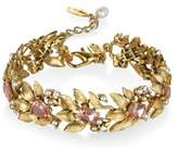 Badgley Mischka 5MM White Freshwater Pearls Metallic Floral Bracelet
