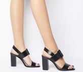 Office Honest Buckle Strap Block Heels Black Leather