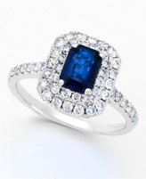 Effy Royale Bleu by Diffused Sapphire (1 ct. t.w.) and Diamond (5/8 ct. t.w.) Ring in 14k White Gold