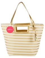 Kate Aspen Striped Metallic Gold Tote With Tassel