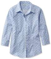 L.L. Bean Wrinkle-Free Pinpoint Oxford Shirt, Three-Quarter Sleeve Floral