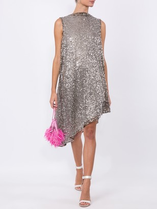 Halpern Sequinned Asymmetric Sleeveless Dress
