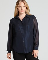 Jones New York Collection Plus Classic Blouse with Chest Pockets