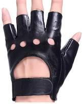 KUYOMENS Men's Fingerless Half Finger Genuine Leather Gloves