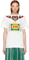 Gucci White 'Loved' Angry Cat Logo T-Shirt