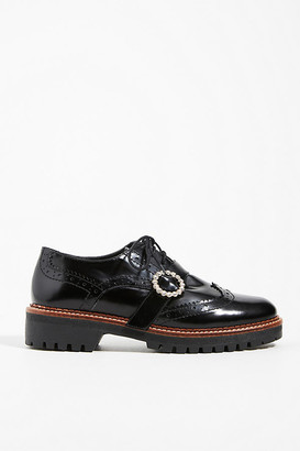 Anthropologie Jean Rhinestone-Embellished Platform Oxfords By in Black Size 36