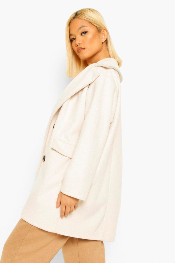 Thumbnail for your product : boohoo Petite Double Breasted Wool Look Coat